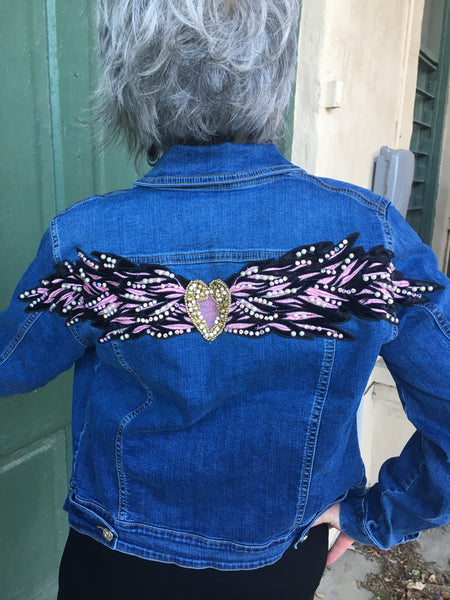 TR-516   Tricotto Jean Jacket w/ Applique Wings