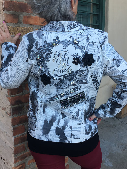 TR-235   Tricotto Newspaper Print Jacket
