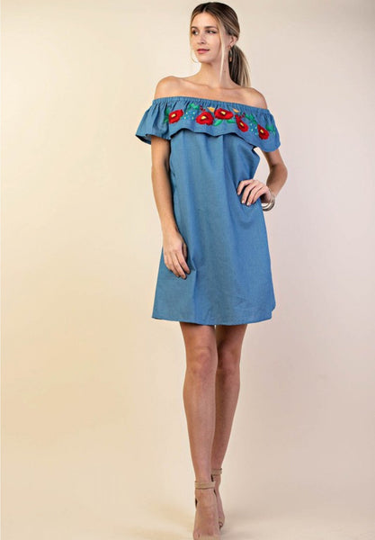 5720   Tizia Embroidered Off-Shoulder Ruffle Dress