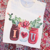 7681   Delaina Cactus Jars Graphic T-Shirt