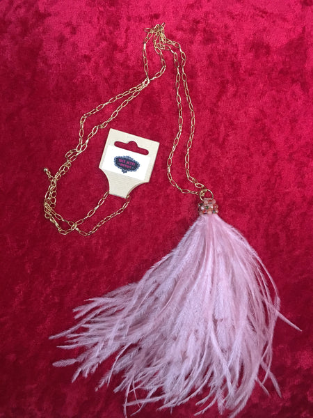 TB-520   Pink Ostrich Feather Necklace