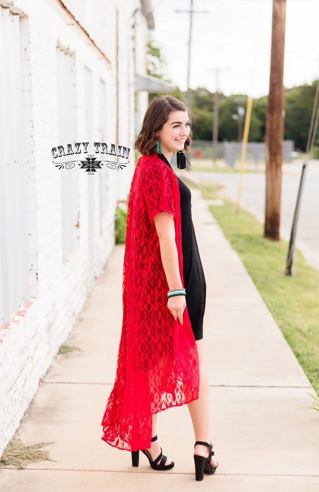 10364   Ariana Red Lace Duster