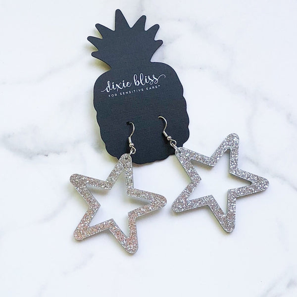 1446   Retro Stars in Silver Earrings by Dixie Bliss