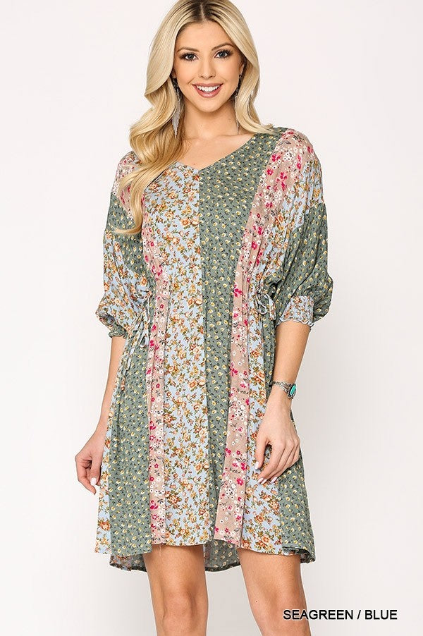 1740   Mari Ditsy Mixed Floral Print Peplum Dress