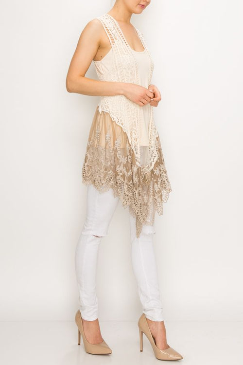 4421   Angelique Crochet Vest w/ Lace Trim