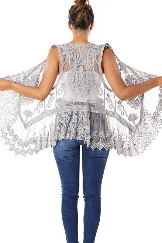 1137   Greta Grey Crochet Vest w Lace Ruffled Trim
