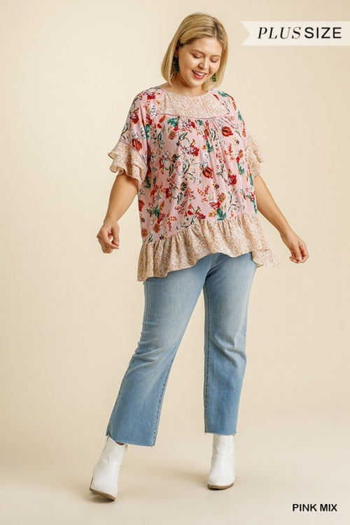 3105   Ginny Mixed Floral Print Top