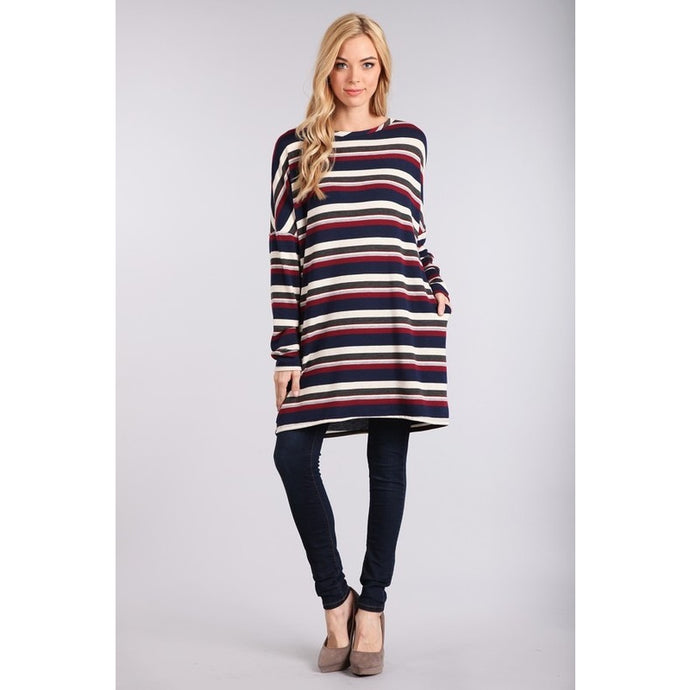 Navy and burgundy striped tunic with pockets S-L