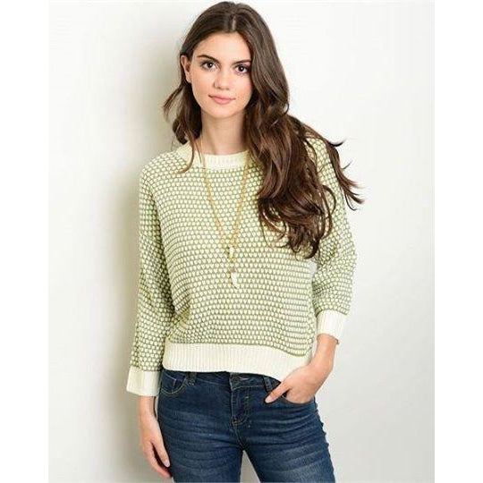 Olive and cream sweater S-L