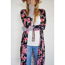 Whitney floral long cardigan with thumb-holes in black, S/M and M/L
