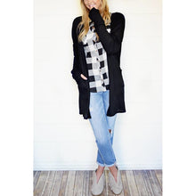 Katie waffle knit cardigan with thumb-holes in black, S/M  and M/L