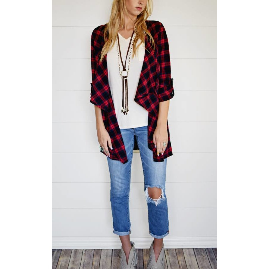 Flannel plaid cardigan in red/navy, S/M and M/L