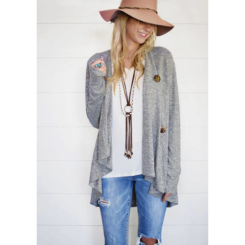 Lisa wrap style cardigan with thumb-holes in gray and navy blue, S/M and M/L