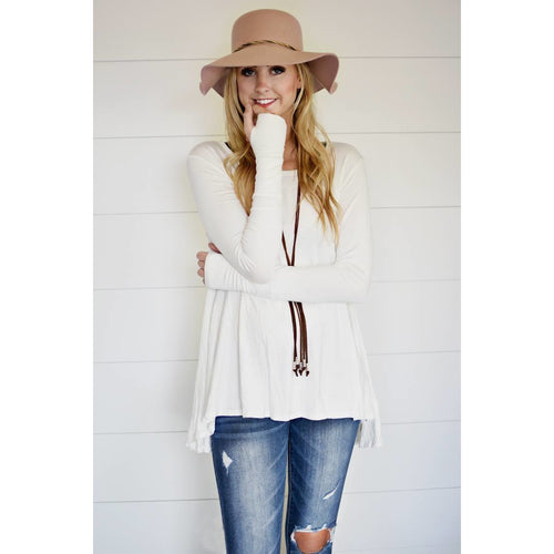 Carly solid tunic with thumb-holes in ivory, S/M and M/L