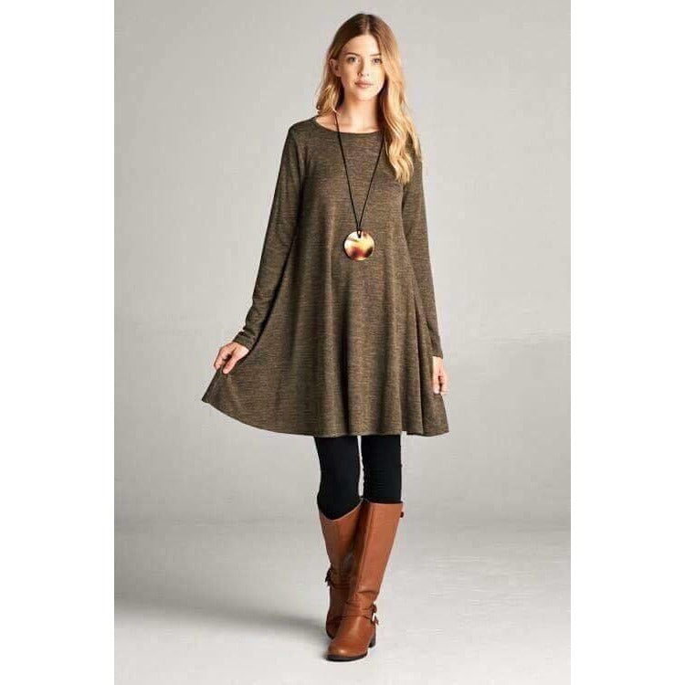 Bailey hacci knit shift dress in olive for our curvy girls, 1XL-3XL