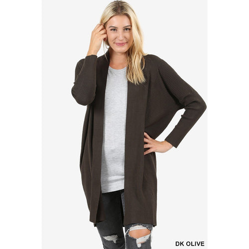 Zoe open from slouchy cardigan in dark olive, S-XL