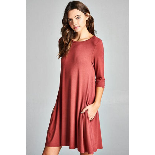 Marsala dress with pockets and 3/4 sleeves S-L