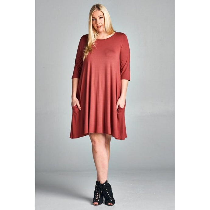 Curvy girl - Marsala dress with pockets and 3/4 sleeves 1XL-3XL