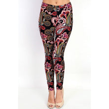 OS or S/M - Black mix paisley pattern leggings