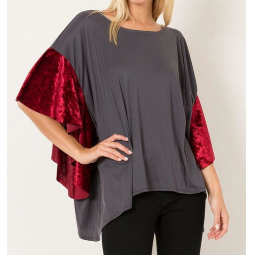 Gray top with red velvet sleeves S-L