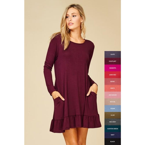 Curvy Girl - Eggplant long sleeved ruffle hem tunic/dress with pockets 1XL-3XL