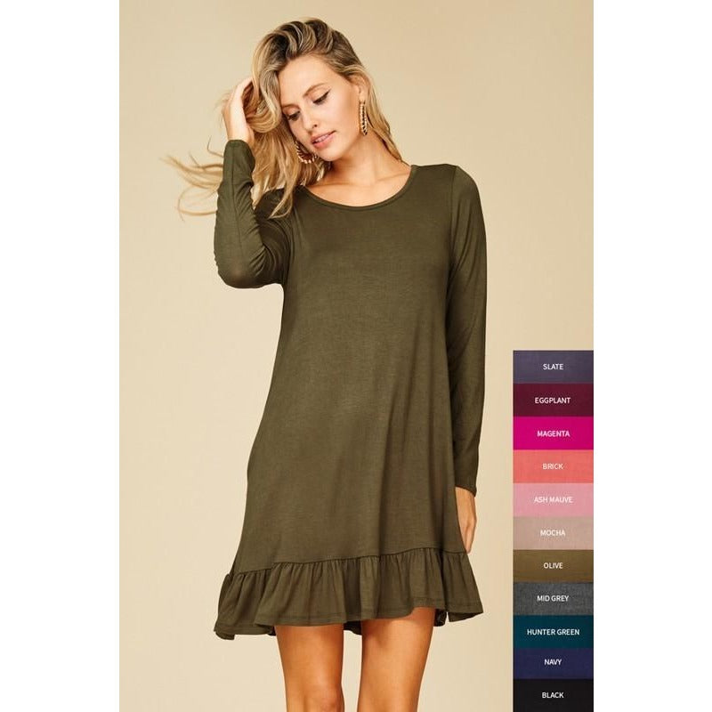 Olive long sleeved ruffle hem tunic/dress with pockets S-L
