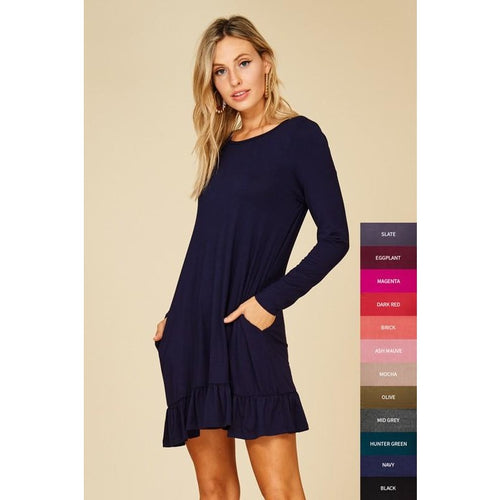 Navy long sleeved ruffle hem tunic/dress with pockets S-L