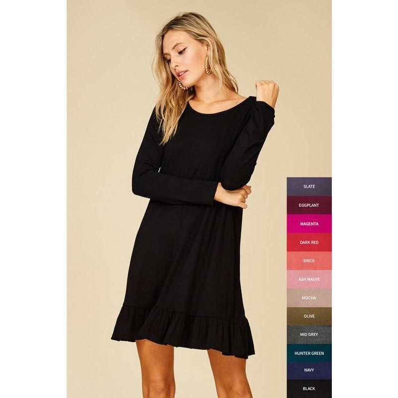 Black long sleeved ruffle hem tunic/dress with pockets S-L