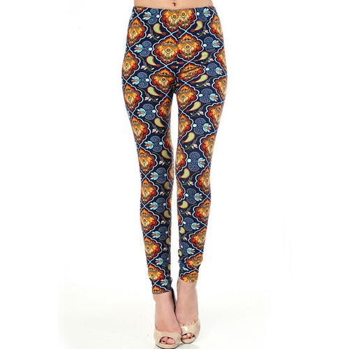 Curvy girl - Red, gold and navy ethnic printed leggings