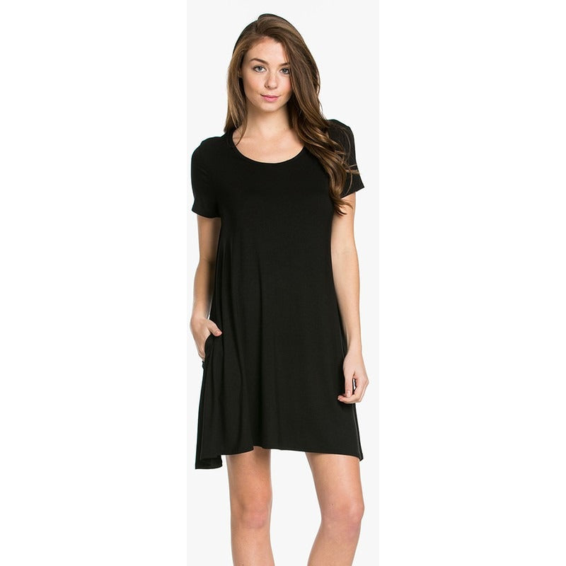 Black swing dress/tunic with pockets S-XL