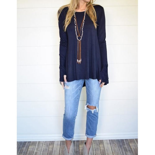 Carly solid tunic with thumb-holes in navy, S/M and M/L
