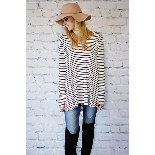 Courtney striped thumb-hole v-neck tunic in ivory with black stripes, S/M and M/L