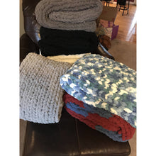 Ready to ship! Large chunky chenille hand knit blanket, brick and country blue,Bulky yarn, Handmade in USA