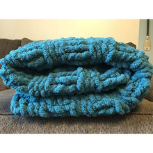 Ready to ship! Large chunky chenille hand knit blanket, basketweave design in teal  Bulky yarn, Handmade in USA