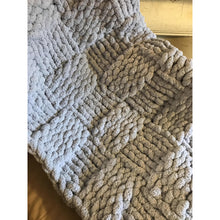 Ready to ship! Large chunky chenille hand knit blanket, basketweave design in sky blue Bulky yarn, Handmade in USA