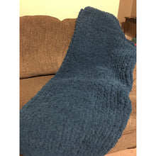 Ready to ship! Large chunky chenille hand knit blanket, dark teal, Bulky yarn, Handmade in USA