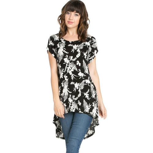 Black and white floral high-low top S-XL