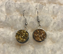 Druzy fish hook earrings, 12mm
