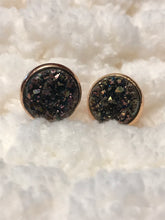 Druzy stud earrings in a rose gold setting, 12mm