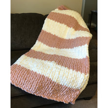 Ready to ship! Large chunky chenille hand knit blanket peach and cream, Bulky yarn, Handmade in USA