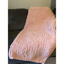 Ready to ship! Large chunky chenille hand knit blanket peach, Bulky yarn, Handmade in USA