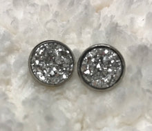 Druzy stud earrings in a silver setting, 12mm