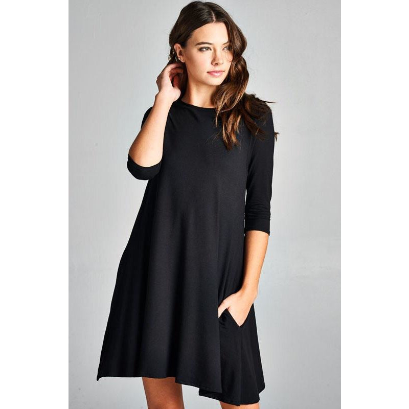 Black dress with pockets and 3/4 sleeves S-L