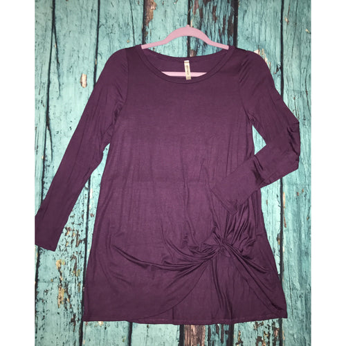 Plum long sleeved top with side knot S-L