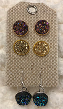 3 pair of druzy earrings, 12mm