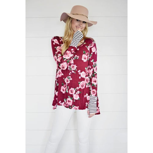 Carly floral thumb-hole tunic in plum, S/M and M/L