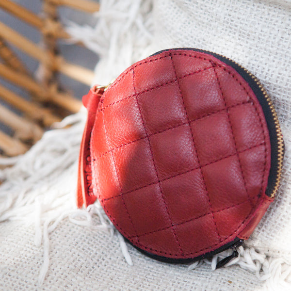 First of June, Purnama coin purse, vegetable tanned leather accessories designed in Bali, handmade in Yogyakarta