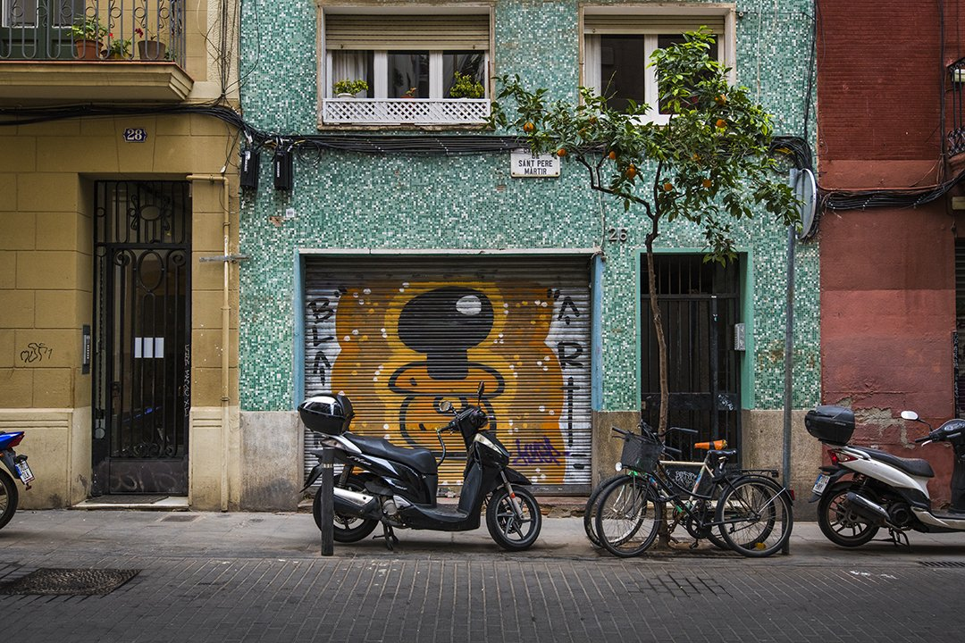 Thumbnail of a photograph of buildings in Spain where the focus is on graffitti, bicycles and a moped, an orange tree that was taken from a streetside view