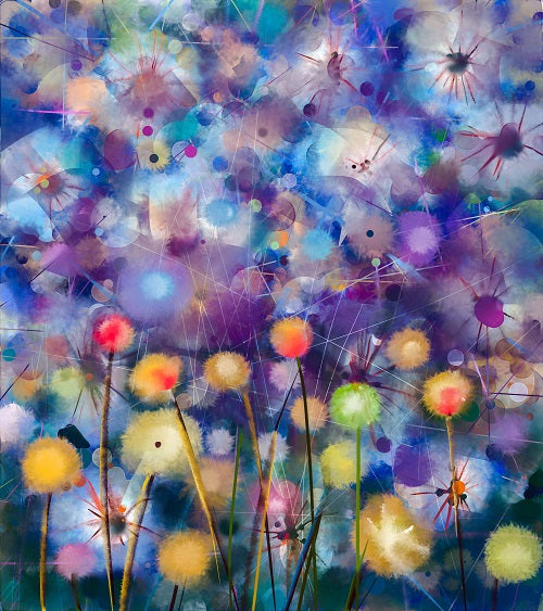 Abstract watercolor painting of colorful dandelion flowers square shaped thumbnail