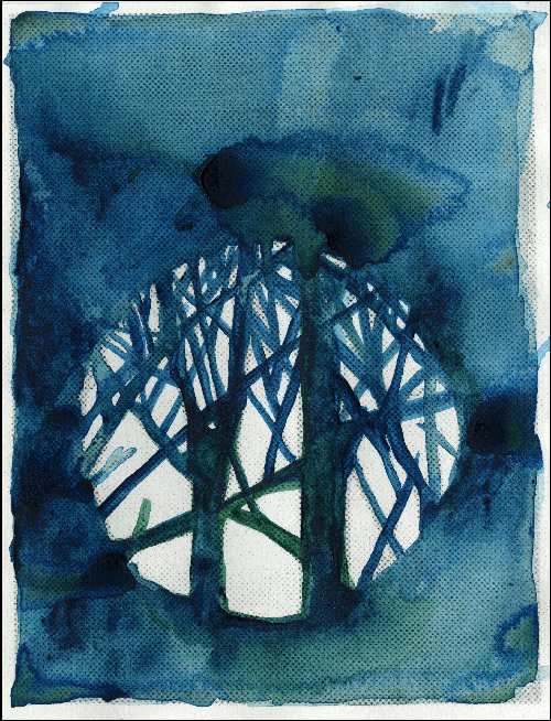 Painting in watercolor on white paper a dark blue space with a white circle in the middle resembling the moon with shadows of trees and branches cast upon it
